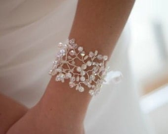 Pearl and Crystal Florence Bridal Cuff Bracelet