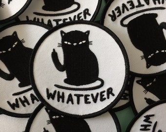 Cattitude sew-on patch - whatever patch - cat patch - Lovestruck prints