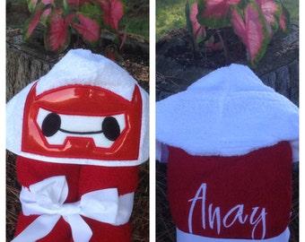 Big Hero 6 Hooded Towel/ Baymax Costume/ Big Hero Six/ Baymax Hooded Towel/ Big Hero 6 Birthday/ Big Hero 6 Party/ Big Hero 6 Costume