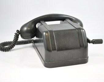 Czech Tesla Bakelite Telephone, Antique Telephone, Bakelite, Czechoslovakia, Old Telephone, Antique, Mid Century Modern, Retro Telephone