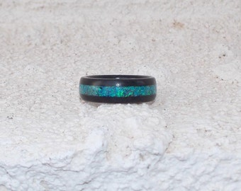 Gabon Ebony Aqua Opal inlay wood rings