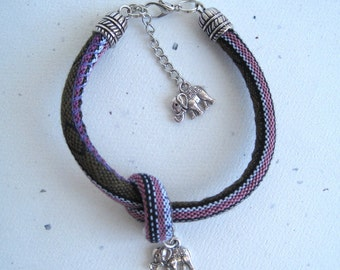 Knotted Rope Bracelet With Small 3D Elephants.