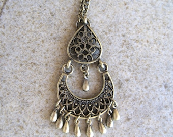 Antique Bronze Bohemian Chandelier Necklace with Small Dangles.