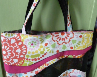 Bright Orange,Pink,Blue,Green Floral Sassy Screen Tote