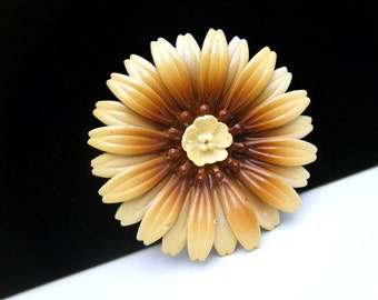 Vintage Enamel Flower Brooch Pin Yellow Center Brown Tan
