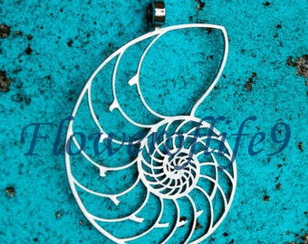 Nautilus shell pendant 2 1/8 x 1 7/16 - Stainless Steel