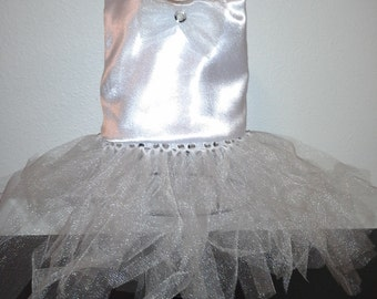 Dachshund white satin dress and tulle tutu for small dog