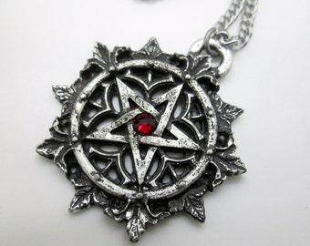 Handmade pentagram, gothic pentagram with swarovski, gothic pendant, wicca, gothic jewelry, medieval necklace, medieval jewelry, pagan