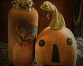 Primitive Pumpkin, Halloween Pumpkin, Primitive Fabric Pumpkin, Altered Bottle, Owl Bottle, Primitive Owl, Primitive Witch, OFG HAFAIR FAAP