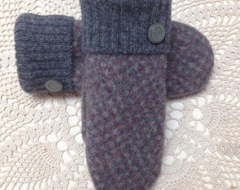 Sweater mittens-Upcycled-recycled wool mittens in grey pattern-made from sweaters