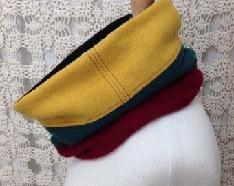 100% Cashmere scarf-Beautiful upcycled-recycled felted colorful cashmere cowl neck scarf-made from sweaters