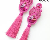 Lacey soutache earrings / fuchsia - extra big