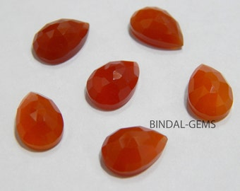 Wholesale Lot 10 Pcs Red Onyx Pear Shape Rose Cut Gemstone For Jewelry
