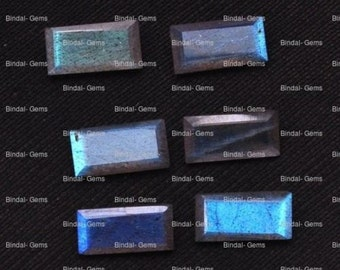 20 Pieces Lot Natural Labradorite Baguette Shape Faceted Cut Loose Calibrated Gemstone