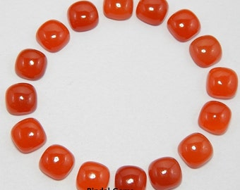 25 Pieces Wholesale Lot Carnelian Cushion Shape Gemstone Loose Cabochon