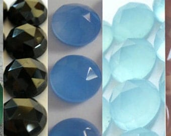 Mix Lot Of 10 Pcs Green Onyx, Black Onyx, Aqua, Blue, Pink Chalcedony 10x10 mm Round Rose Cut Gemstone