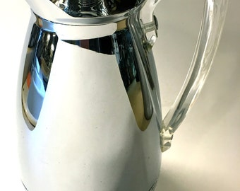 Vintage Mid Century Modern Stainless Steel Thermos Insulated Carafe with Lucite Handle