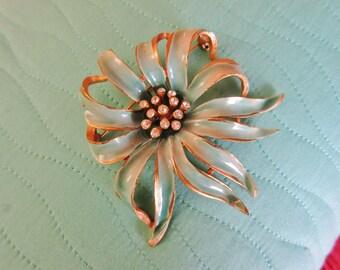 "Designer B.S.K Brooch - Large 3"" Vintage Aqua Enamel Flower Pin"