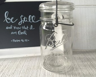 Antique Mason Jar Ball Eclipse Wide Mouth Canning Jar  Fruit Jar farmhouse decor Clear Glass Wide Mouth Storage Jar Vintage Quart Size Jar