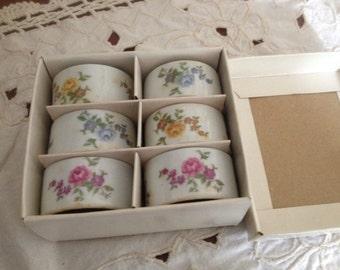 Vintage Set of (6) Porcelain Floral  Napkin Rings