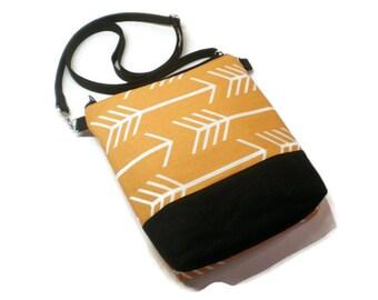 Orange arrows crossbody purse, tote, bag. Women gift under 40. Vegan.