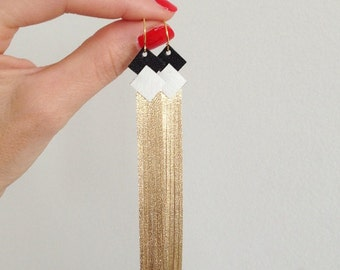 earrings leather fringe entirely handmade gold plated hook
