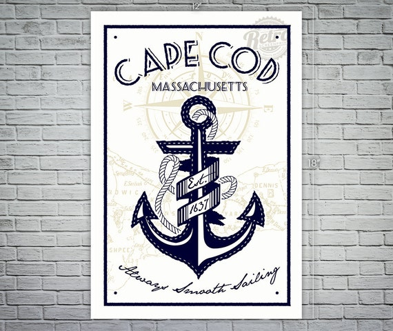 Cape Cod Anchor Screen Printed Poster Massachusetts Nautical
