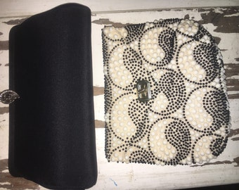 Two Vintage  Black and White Clutch Purses Plastc Beaded