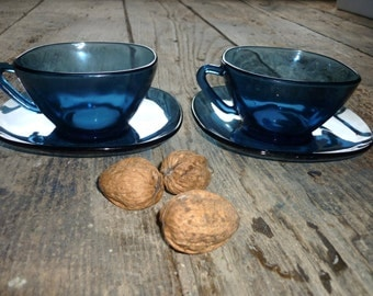 French fifties pair of Vereco large cups and saucers ( 250 ml) blue glass
