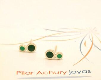 mini stud earrings -  Sterling Silver Ear Studs - Green - Polka dot  earrings -  Spring - Summer  - Valentine's Day
