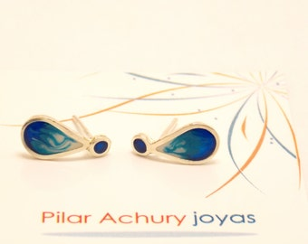 Drop stud earrings -  Sterling Silver Ear Studs - Blue - Sea  earrings -  Spring - Summer  - Valentine's Day