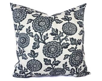 Two Dark Grey Decorative Pillows - Grey Throw Pillow Covers - Grey Pillow Sham - Grey Pillow 16 inch Pillow - 18 inch Pillow - Floral Pillow