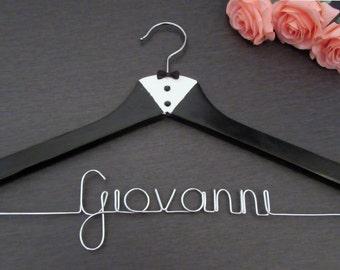 Groom Hanger - Tuxedo Hanger - Groom Gift - Wedding Hanger - Personalized Hanger - Name Hanger - Groomsmen Gift - Tux Hanger