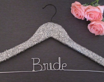 Glitter Hanger - Glitter Wedding Hanger - Bling Bride Hanger - Bridal Hanger - Hangers for Wedding - Bridal Party Hangers - Mrs Hanger