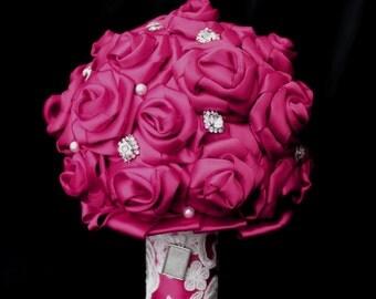 Wedding Bouquet, bridal bouquet, brooch bouquet, ribbon bouquet, fabric bouquet, pink wedding bouquet, alternative bouquet, keepsake bouquet