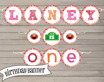 Elmo Inspired Birthday Banner