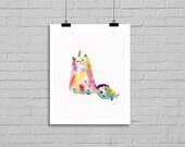Colorful Rainbow Unicorn Cat Caticorn Watercolor Painting Art Print