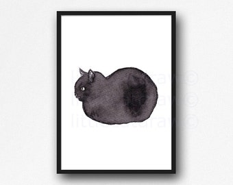 Loaf Kitten Black Cat Watercolor Painting Art Print Kitten Cat Wall Art Cat Lover Gifts Unframed Print Wall Decor