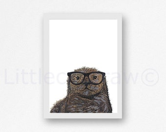 Geeky Otter Print Cool Nerd Wearing Glasses Otter Watercolor Painting Animal Art Print Wall Decor