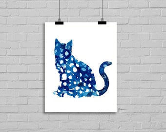 Blue Cat Watercolor Painting Cat Illustration Art Drawing Watercolor Print Watercolor