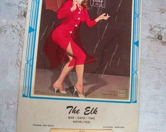 Vintage Original 1967 The Elk Pin Up Calendar with Plastic Lift Up Cover
