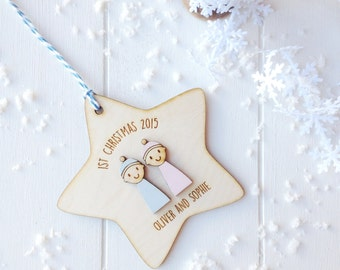 Personalised Baby twins first Christmas