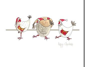 Christmas Card - Three Chickens - Fun, Watercolour, Barnyard, Holiday Card