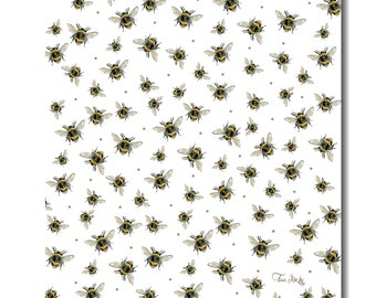 Bumble Bee Cotton Tea Towel (White)