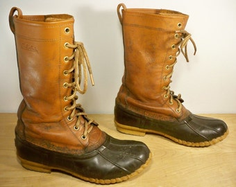 Vintage Cabela's Brown Leather & Rubber Hunting Work Birding Duck Sport Men's Boots Size 9