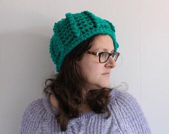 Warm winter hat, green hat, ladies hat, big crochet winter hat, size large