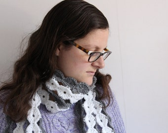 Long scarf, grey and white crochet scarf, winter scarf