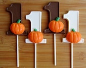 "Number ONE ""LITTLE PUMPKIN"" Chocolate Pops (12) - 1-9 Available! Little Pumpkin Party/Fall Favors/Pumpkin Pops"
