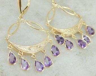 Pretty Amethyst Tassel Drop Earrings in Yellow Gold X4FLH0-N