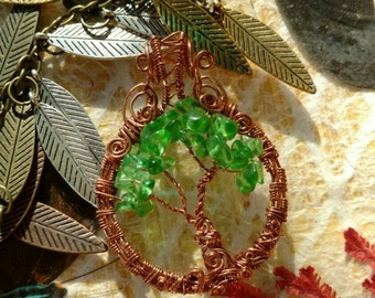 Recycled glass tree of life wire wrapped pendant. Wire wrapped jewelry handmade